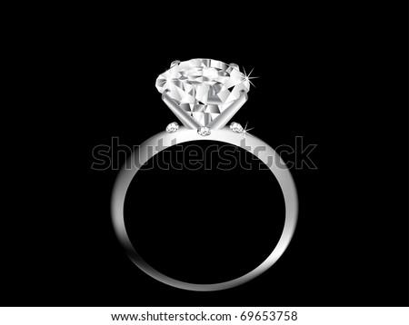 Diamond ring over black background - stock vector