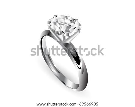 Diamond ring over white background - stock vector