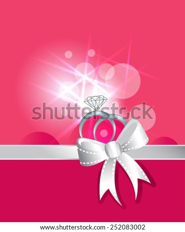 Diamond rings and wedding silver band ribbon and bow  - stock vector