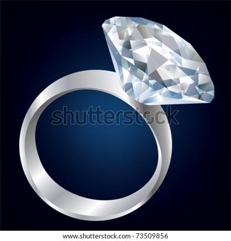 Diamond Shiny bright ring. Vector - stock vector
