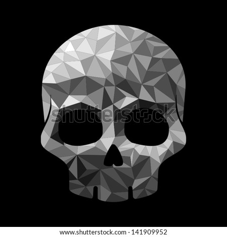 Diamond skull make with triangles - stock vector