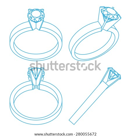Diamond solitaire engagement rings projections - stock vector
