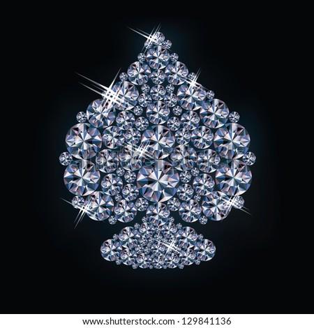 Diamond spades poker card , vector illustration - stock vector