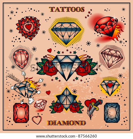 diamond tattoos - stock vector