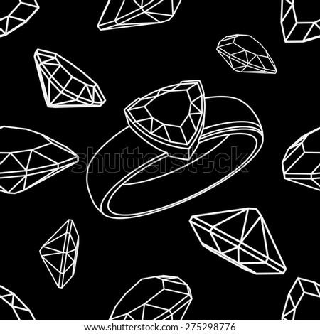 Diamond trillion ring seamless - stock vector