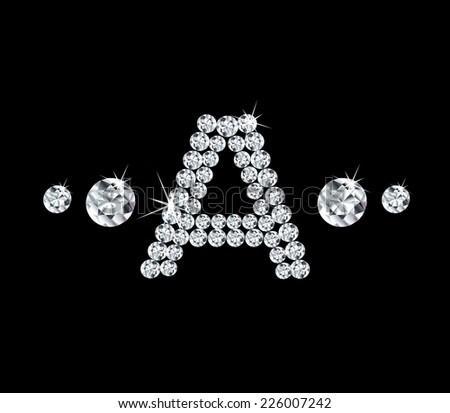 Diamond vector alphabetic letter 'A' - stock vector