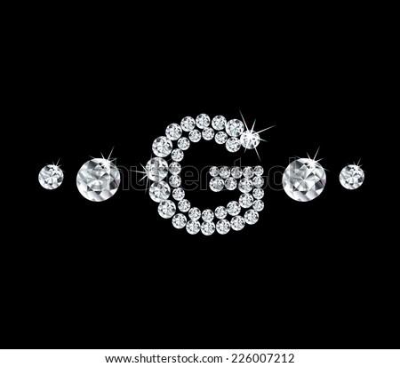 Diamond vector alphabetic letter G' - stock vector