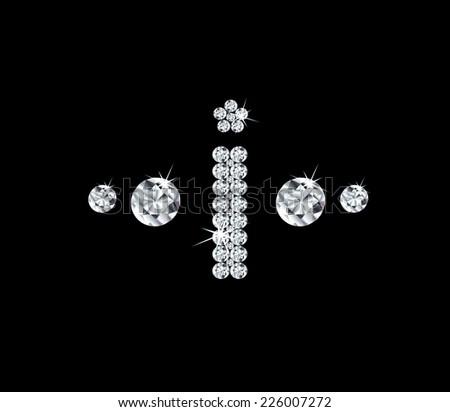 Diamond vector alphabetic letter 'I' - stock vector