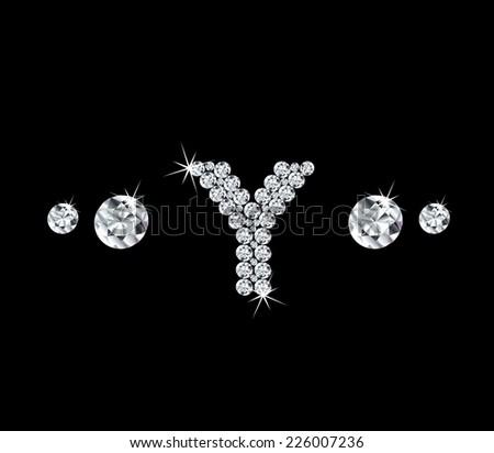 Diamond vector alphabetic letter 'Y - stock vector