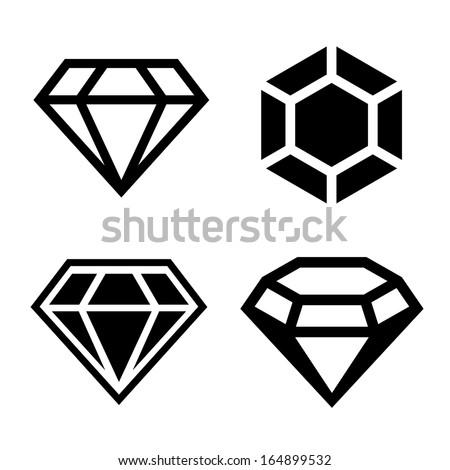 Diamond vector icons set - stock vector