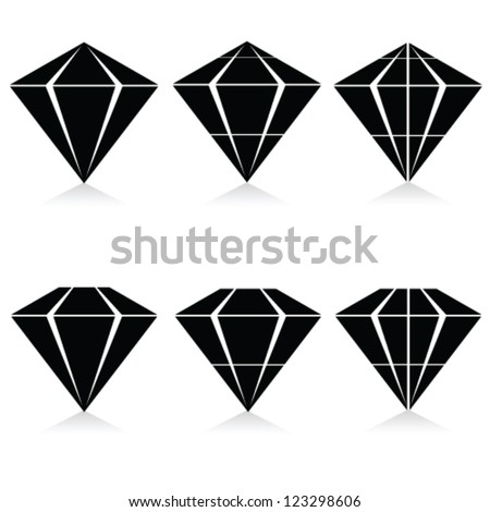 diamond vector illustration in black on white background - stock vector