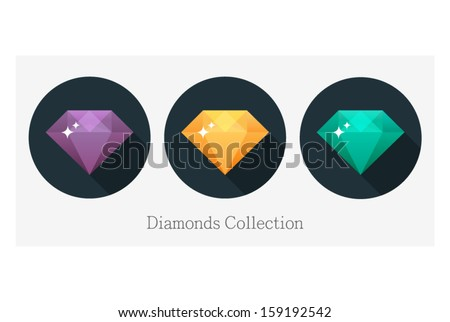 Diamond vector illustration in flat design - stock vector