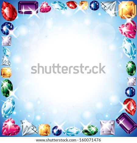 Diamonds and gemstones colorful frame background in vector - stock vector