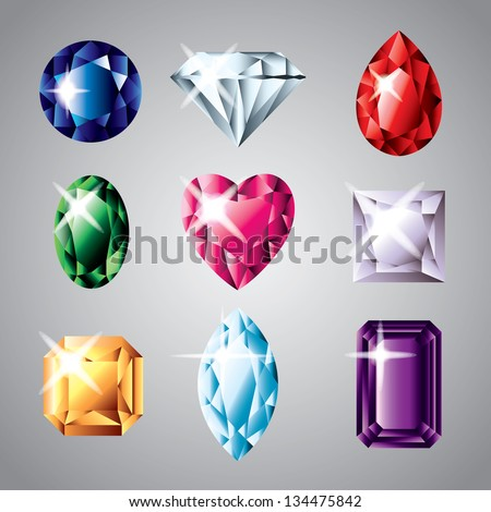 diamonds and gemstones colorful vector set - stock vector
