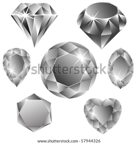 diamonds collection against white background, abstract vector art illustration - stock vector