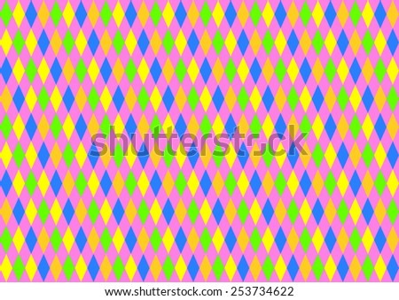 Diamonds in neon colors in offset placed colors on a strong pink background in a landscape format