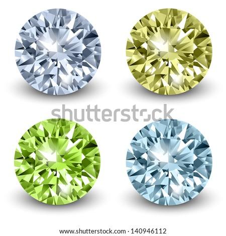 Diamonds, realistic vector illustration. - stock vector