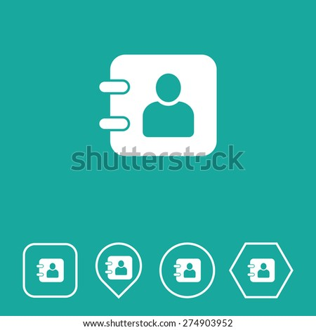 Diary Icon on Flat UI Colors with Different Shapes. Eps-10. - stock vector