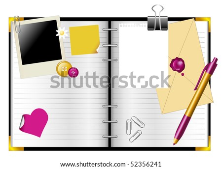 Diary personal spiral organizer with office supplies. - stock vector