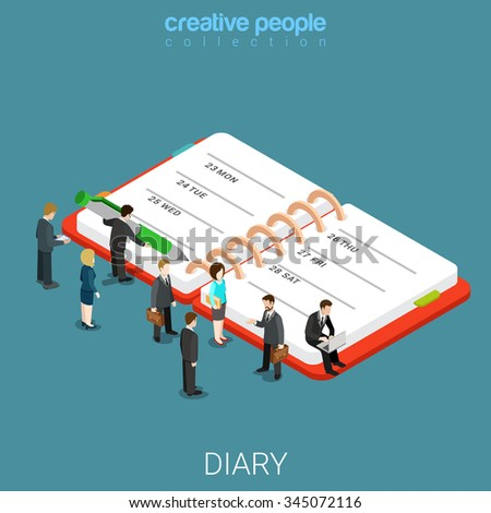 Diary schedule calendar planner flat 3d isometry isometric business concept web vector illustration. Micro businessmen and huge notebook. Creative people collection. - stock vector