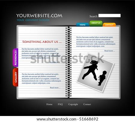 Diary website template, vector - stock vector
