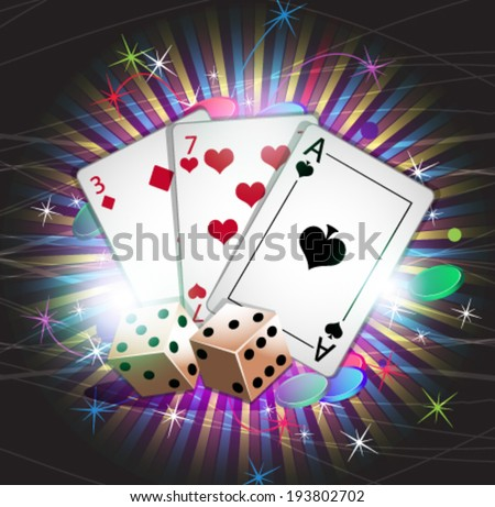 Dice and cards on a striped background.  Conceptual gambling background - stock vector