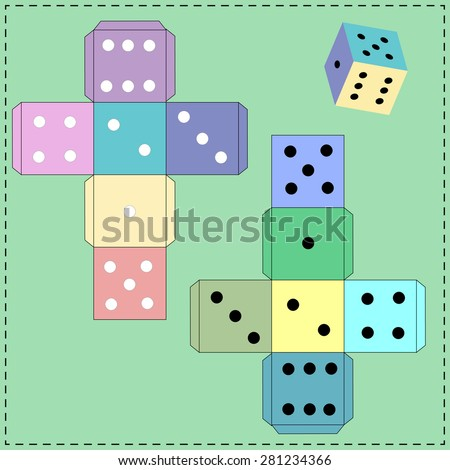 Dice for games. Paper Dice Template. Vector.  - stock vector