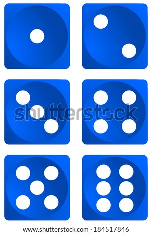 Dice for games turned on all sides and with all the numbers. Numbers of dice, one, two, three, four, five, six. Blue dice vector art image objects illustration eps10, isolated on white background  - stock vector