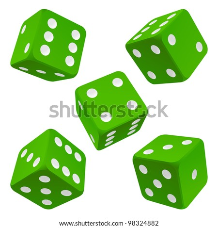 Dice set. Green vector icon - stock vector