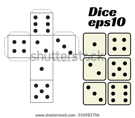 Dice Set. Vector illustration. Printable template for cutting from paper. Six faces of a cube. For gambling, casinos, game design. - stock vector