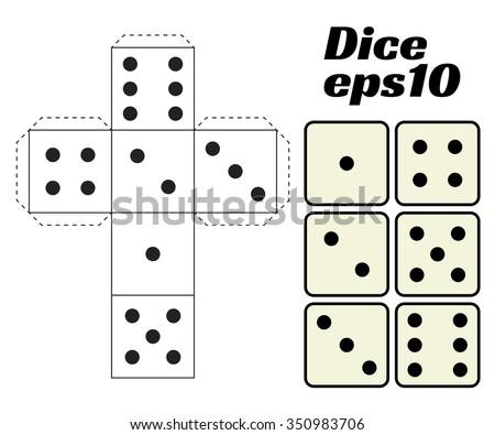 Paper Dice Template Vector Stock Vector 237223576 - Shutterstock