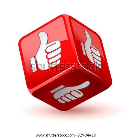 dice thumb up icon - stock vector