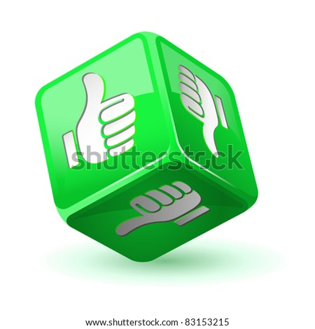Dice thumb up icon. Green - stock vector