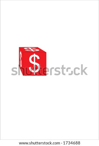 dice with dollar sign - stock vector