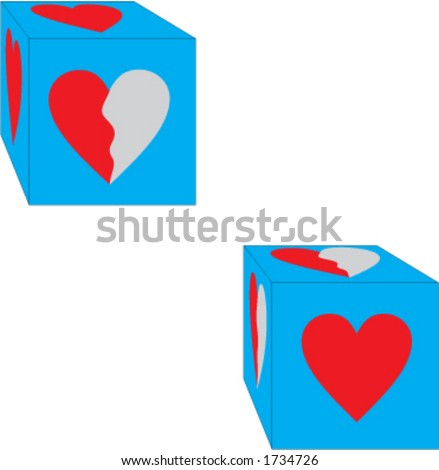 dice with heart - stock vector