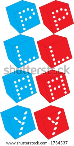dices with play text - stock vector