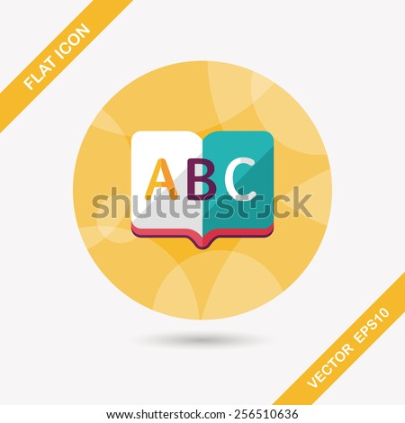 Dictionary book flat icon with long shadow,eps10 - stock vector