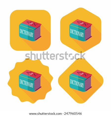 Dictionary flat icon with long shadow,eps10 - stock vector