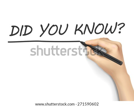 did you know words written by hand on white background - stock vector