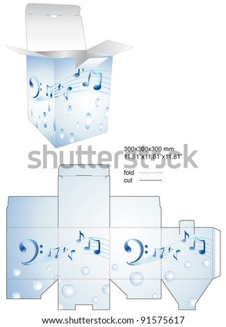 Die color stamp music decor box - stock vector
