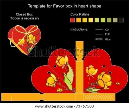 Die cut favor box. Floral pattern. - stock vector