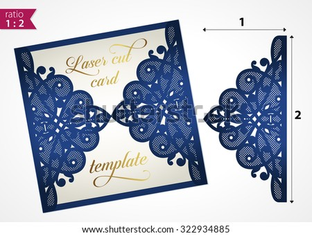 Die Cut Wedding Invitation Card Template Stock Vector - Laser cut wedding invitation templates