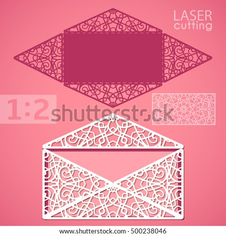 Die Cut Envelope Template Laser Cut Stock Vector 337492583
