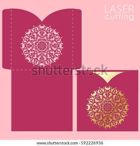 Vector Die Laser Cut Envelope Template Vector 504820870 – Wedding Card Envelope Template