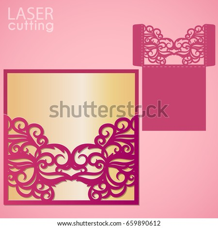 Die Laser Cut Wedding Card Vector Stock Vector   Shutterstock