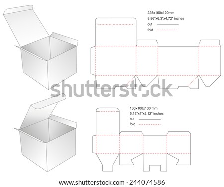 Die paper boxes templates with stamp - stock vector