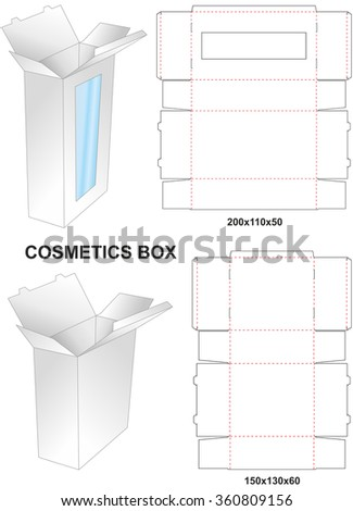 Die paper cosmetic box with stamp
