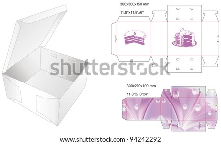 die stamp box for cake - stock vector