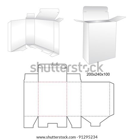 Die stamping box - stock vector