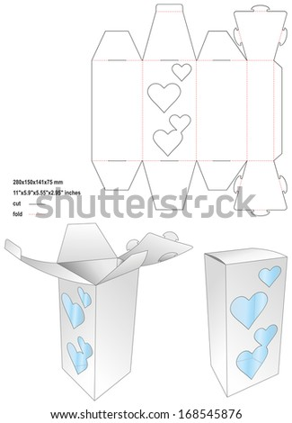 Die toy love box - stock vector